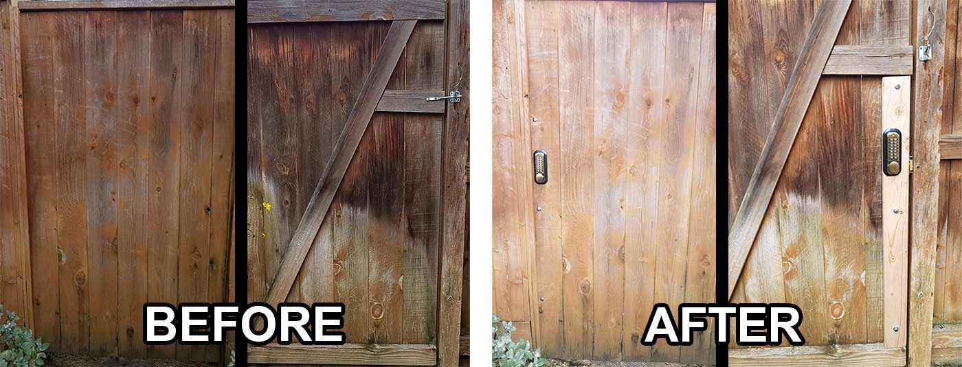 before and after images of an outdoor gate that we installed a coded lock on.
