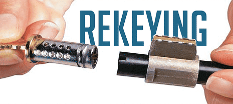 image of a lock cylinder that's been removed so it can be rekeyed